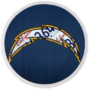 San Diego Chargers Football Team Retro Logo California License Plate Art Round Beach Towel by Design Turnpike
