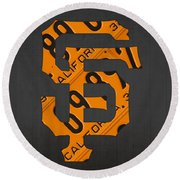 San Francisco Giants Baseball Vintage Logo License Plate Art Round Beach Towel by Design Turnpike