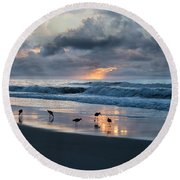 Sandpipers In Paradise Round Beach Towel by Betsy Knapp