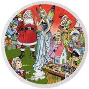 Santa Claus Toy Factory Round Beach Towel by Jesus Blasco