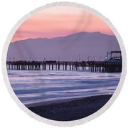 Santa Monica Pier Santa Monica Ca Round Beach Towel by Panoramic Images