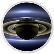 Saturn Mosaic With Earth Round Beach Towel by Adam Romanowicz