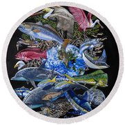 Save Our Seas In008 Round Beach Towel by Carey Chen