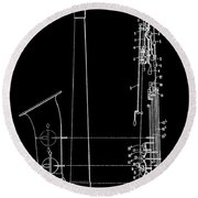 Saxophone Patent Black And White Round Beach Towel by Dan Sproul