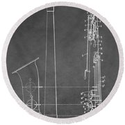 Saxophone Patent Round Beach Towel by Dan Sproul