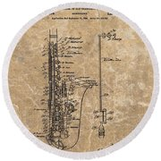 Saxophone Patent Design Illustration Round Beach Towel by Dan Sproul