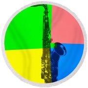 Saxophone Pop Art Round Beach Towel by Dan Sproul