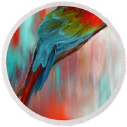 Scarlet- Red And Turquoise Art Round Beach Towel by Lourry Legarde