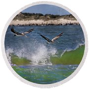 Scouting For A Catch Round Beach Towel by Betsy Knapp