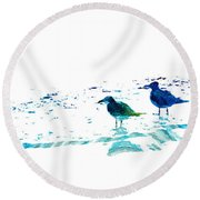 Seagull Art - On The Shore - By Sharon Cummings Round Beach Towel by Sharon Cummings