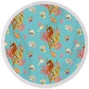 Seahorses Coral And Shells Round Beach Towel by Kimberly McSparran