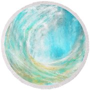 Seascapes Abstract Art - Mesmerized Round Beach Towel by Lourry Legarde