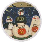 Seasonal Snowman X Round Beach Towel by Anne Tavoletti