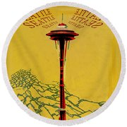 Seattle Calling Round Beach Towel by Sandstone Inc