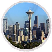 Seattle City Skyline And Downtown Round Beach Towel by Panoramic Images