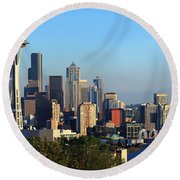 Seattle City Skyline With Mt. Rainier Round Beach Towel by Panoramic Images