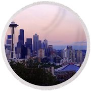 Seattle Dawning Round Beach Towel by Chad Dutson