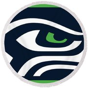 Seattle Seahawks Round Beach Towel by Tony Rubino