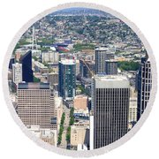 Seattle Skylines From The Columbia Round Beach Towel by Panoramic Images