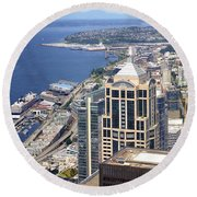 Seattle Skyscrapers At Waterfront Round Beach Towel by Panoramic Images