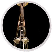 Seattle Space Needle At Night Round Beach Towel by David Smith
