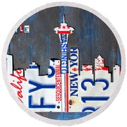 Seattle Washington Space Needle Skyline License Plate Art By Design Turnpike Round Beach Towel by Design Turnpike