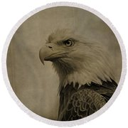 Sepia Bald Eagle Portrait Round Beach Towel by Dan Sproul
