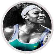 Serena Williams Ace Round Beach Towel by Brian Reaves