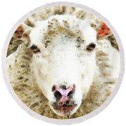 Sheep Art - White Sheep Round Beach Towel by Sharon Cummings