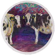 Sheltering Cows Round Beach Towel by Helen White