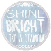 Shine Bright Blue Round Beach Towel by Pati Photography