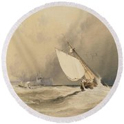 Ships At Sea Off Folkestone Harbour Storm Approaching Round Beach Towel by Anthony Vandyke Copley Fielding