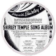 Shirley Temple Song Album Round Beach Towel by Mel Thompson