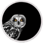 Short-eared Owl Round Beach Towel by Mark Rogan