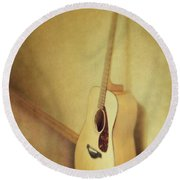 Silent Guitar Round Beach Towel by Priska Wettstein