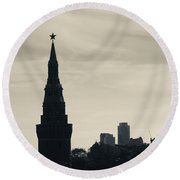 Silhouette Of Kremlin Towers, Moscow Round Beach Towel by Panoramic Images