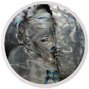 Portrait - ' Silver Flight ' Round Beach Towel by Christian Chapman Art