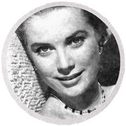Simply Stunning Grace Kelly Round Beach Towel by Florian Rodarte