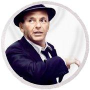 Sinatra.  Frank Sinatra Round Beach Towel by Iconic Images Art Gallery David Pucciarelli