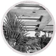 Sinatra Patio Bw Palm Springs Round Beach Towel by William Dey