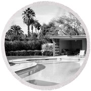 Sinatra Pool And Cabana Bw Palm Springs Round Beach Towel by William Dey