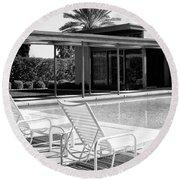 Sinatra Pool Bw Palm Springs Round Beach Towel by William Dey