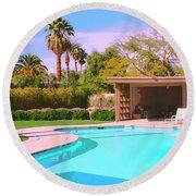 Sinatra Pool Cabana Palm Springs Round Beach Towel by William Dey