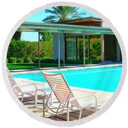 Sinatra Pool Palm Springs Round Beach Towel by William Dey