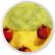 Six Apples Round Beach Towel by Michelle Calkins