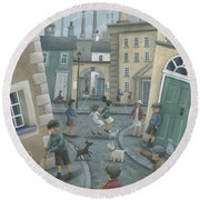 Skipping By The Green Door Round Beach Towel by Peter Adderley