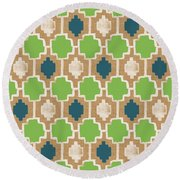 Sky And Sea Tile Pattern Round Beach Towel by Linda Woods