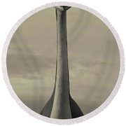 Skyline Drive Dinosaur Statue At Dawn Round Beach Towel by Panoramic Images