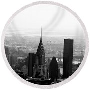 Skyscraper Round Beach Towel by Linda Woods