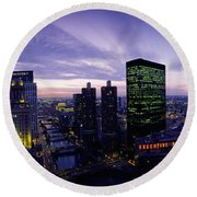 Skyscrapers, Chicago, Illinois, Usa Round Beach Towel by Panoramic Images